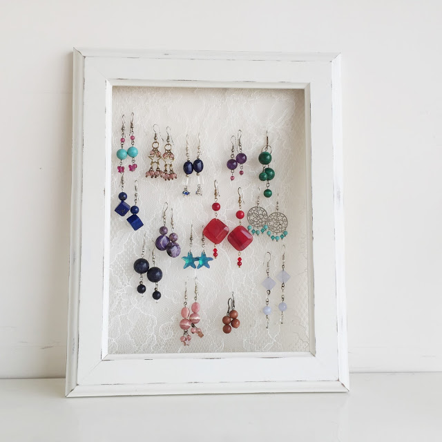 Hang your precious earrings on the lace