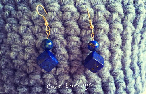 Cube mineral earrings hong kong lapis lazuli