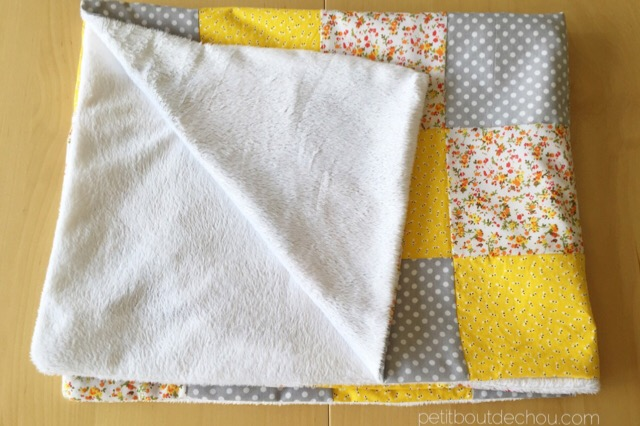 super soft and easy to do minky and fabric square blanket