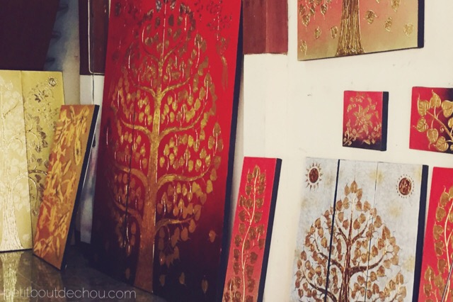 tree of life on painted wood boards Ban Tawai