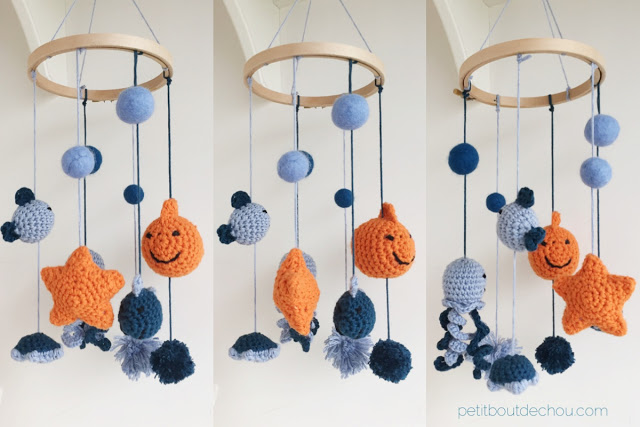 DIY amigurumi sea friends baby mobile blue and orange