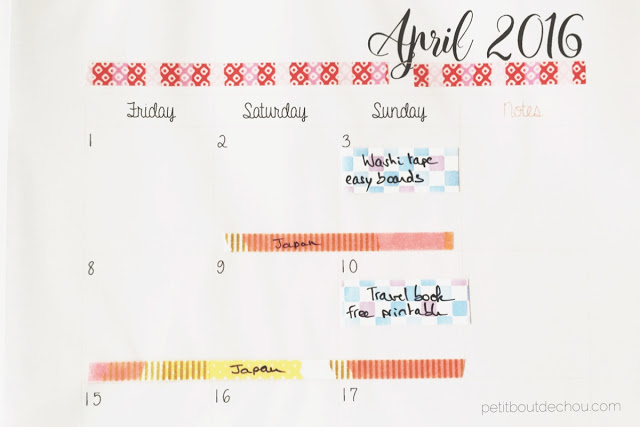 March 2016 monthly planner example