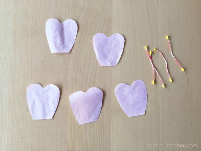 tissue paper petals cut and stamen