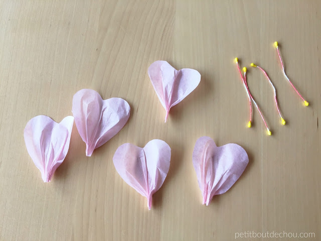tissue paper petals rolled and stamen