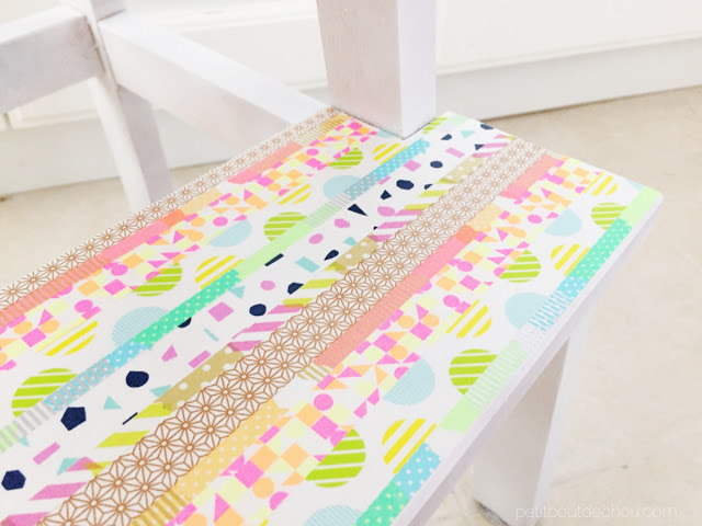 bottom step of stool with washi tape
