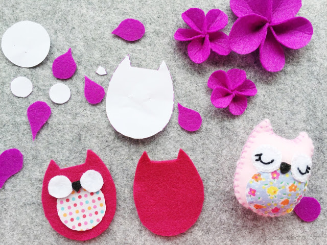 DIY stuffed felt owl with free pattern cut pieces
