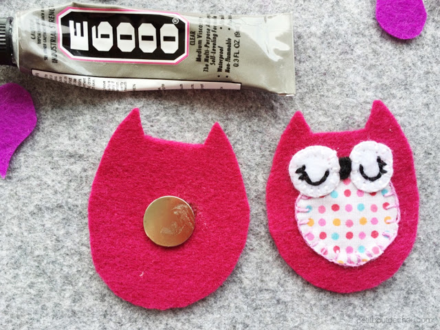 DIY stuffed felt owl with free pattern glue magnet