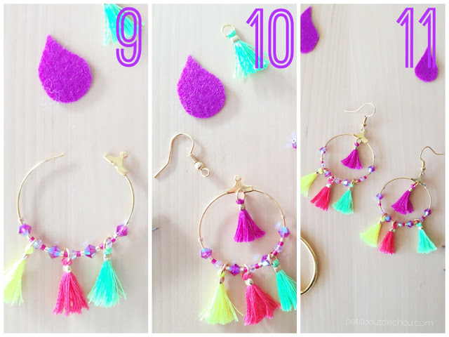 Summer Mini tassel earrings jewellery steps 9 to 11