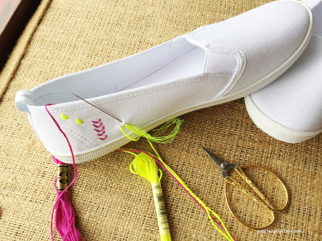 embroidery on your summer flat shoes