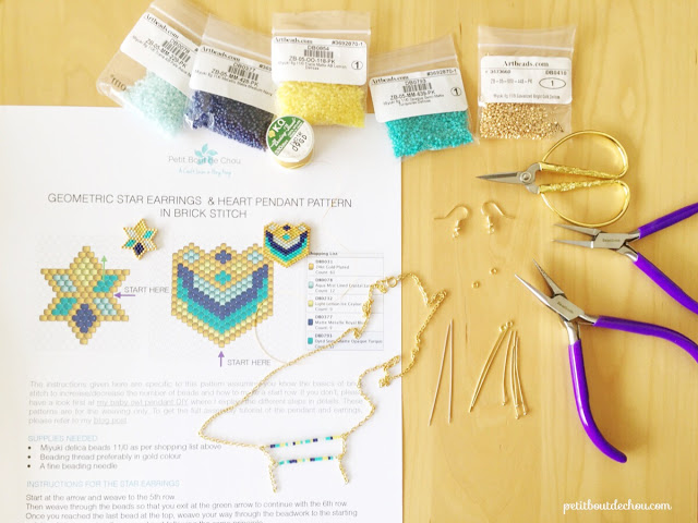 beading supplies for miyuki earrings and pendant project