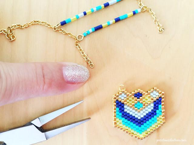 heart pendant miyuki delica beads