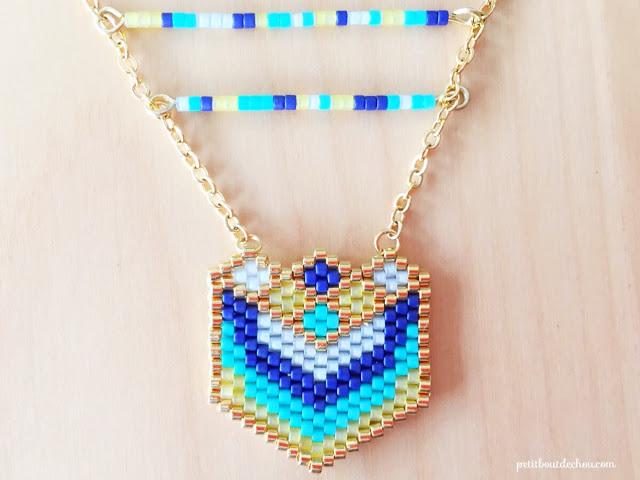 heart pendant with miyuki beads