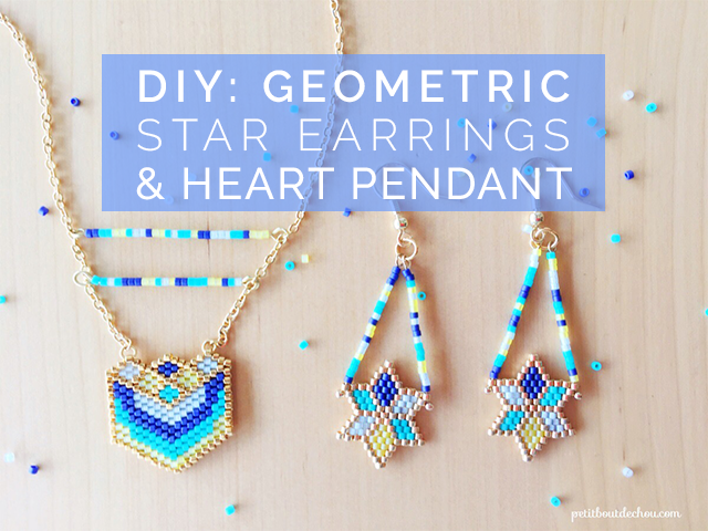 DIY geometric miyuki star earrings and heart pendant