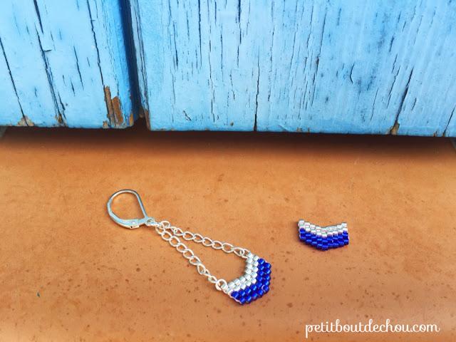 Chevron beaded in brick stitch with miyuki beads - chains and back locks