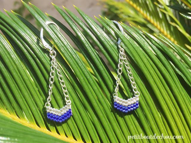 chevron beaded earrings on leaf
