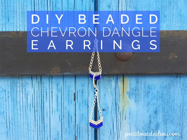 title beaded chevron dangle earrings
