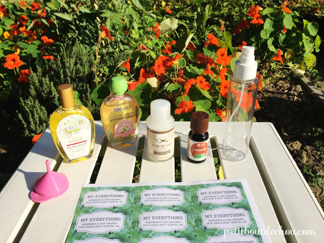 natural oils coconut almond - supplies needed