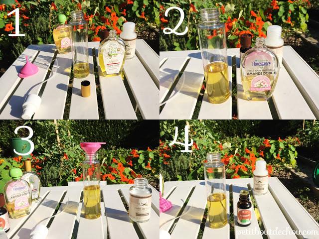 natural oils coconut almond - DIY steps