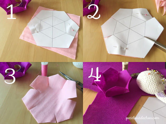 Free pattern for DIY felt flower basket
