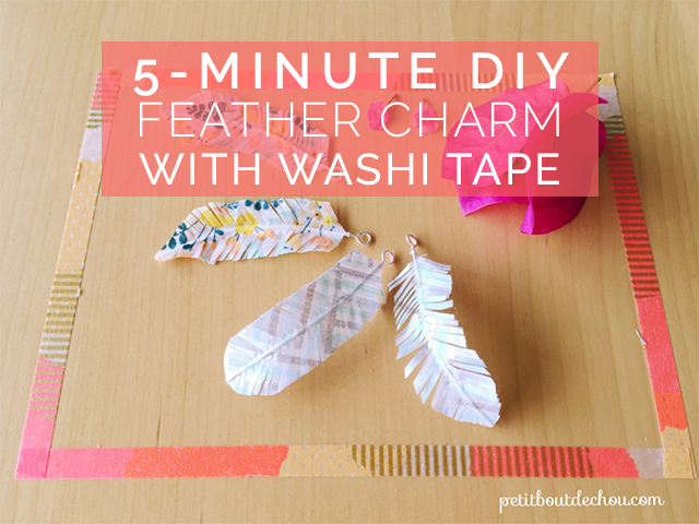 5-minute feather charm with washi tape DIY