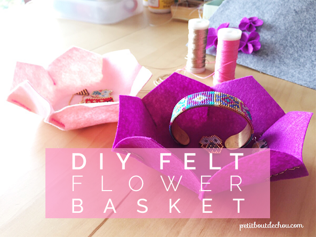 DIY Felt flower shaped basket