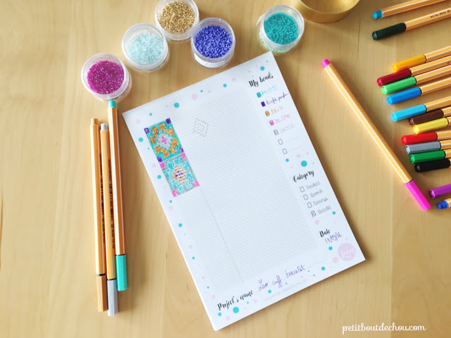 Bead loom and brick stitch grid notepad