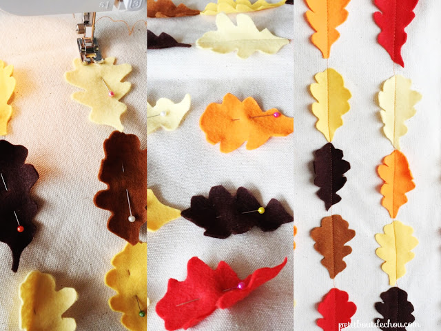 pin and sew the leaves
