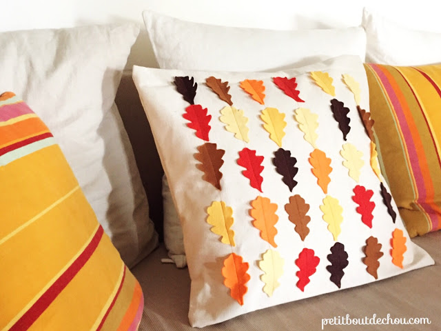 felt leaves cushion cover DIY