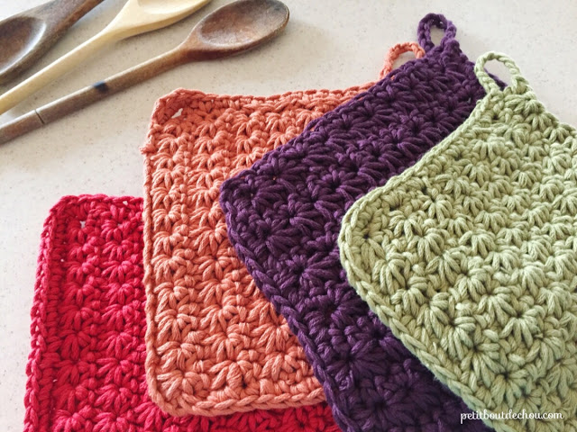 DIY star stitch crochet potholder