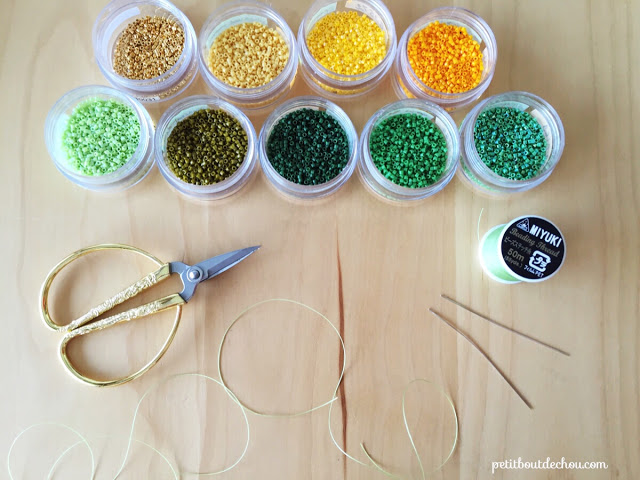 DIY Beaded ginko leaf in brick stitch supplies needed