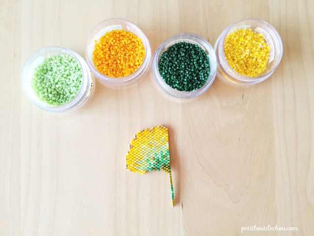 DIY Beaded ginko leaf in brick stitch half