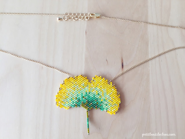 DIY Beaded ginko leaf in brick stitch necklace