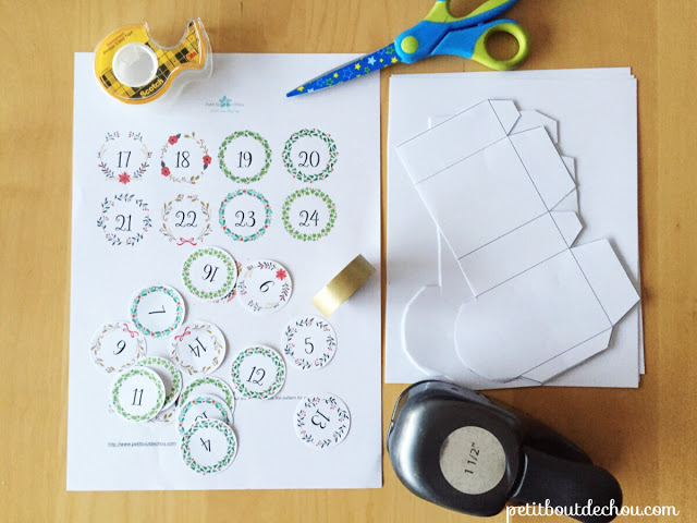 DIY Christmas advent calendar printable craft supplies