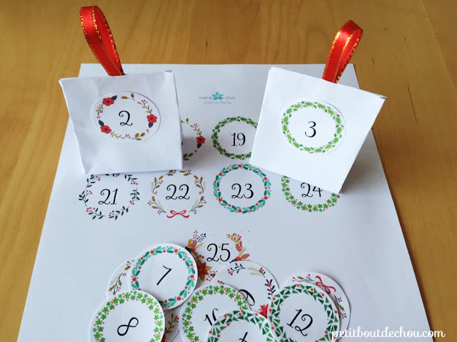 Advent calendar tags free printable