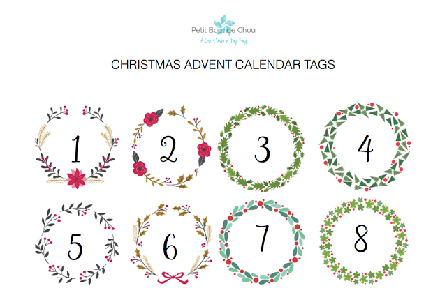 Advent calendar christmas wreath printable tags
