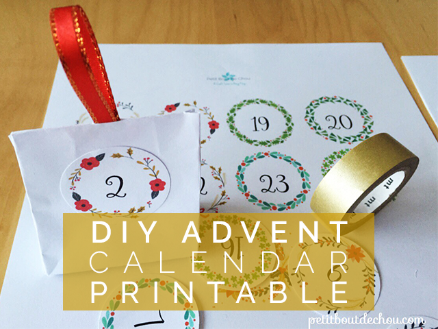 DIY Christmas advent calendar printable
