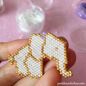 beaded elephant grid miyuki square pic