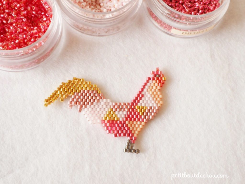 Beaded rooster miyuki