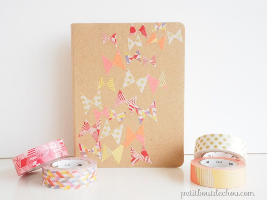 Masking tape butterflies notebook cover DIY