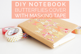 DIY Notebook Butterflies Cover with Masking Tape