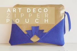 Art deco zipper pouch title