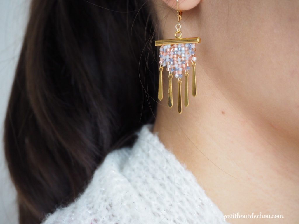 Herringbone stitch dangle earrings
