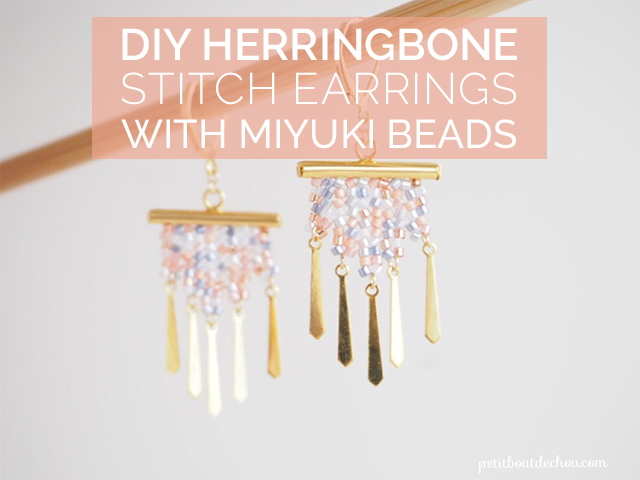 Title herringbone stitch earrings