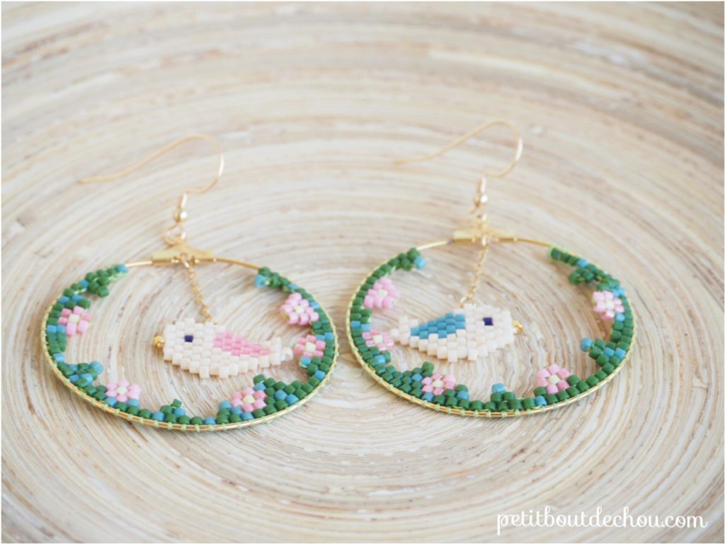Spring bird creole earrings both