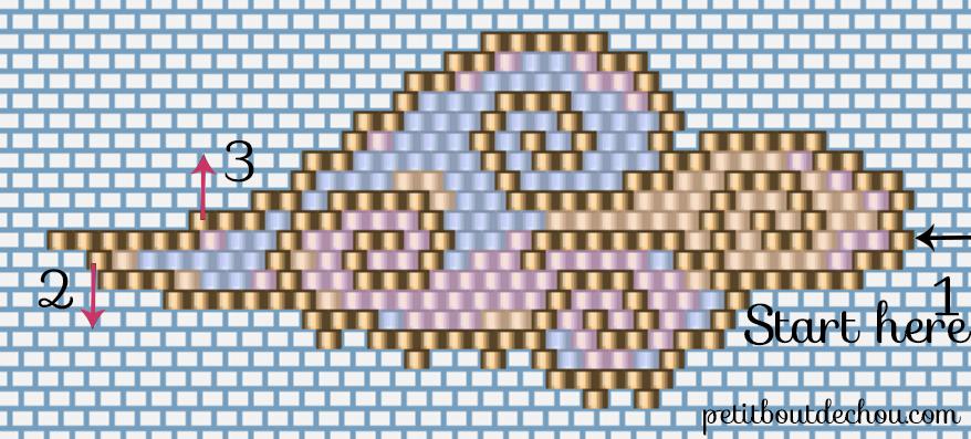Grille de tissage miyuki nuage pastel