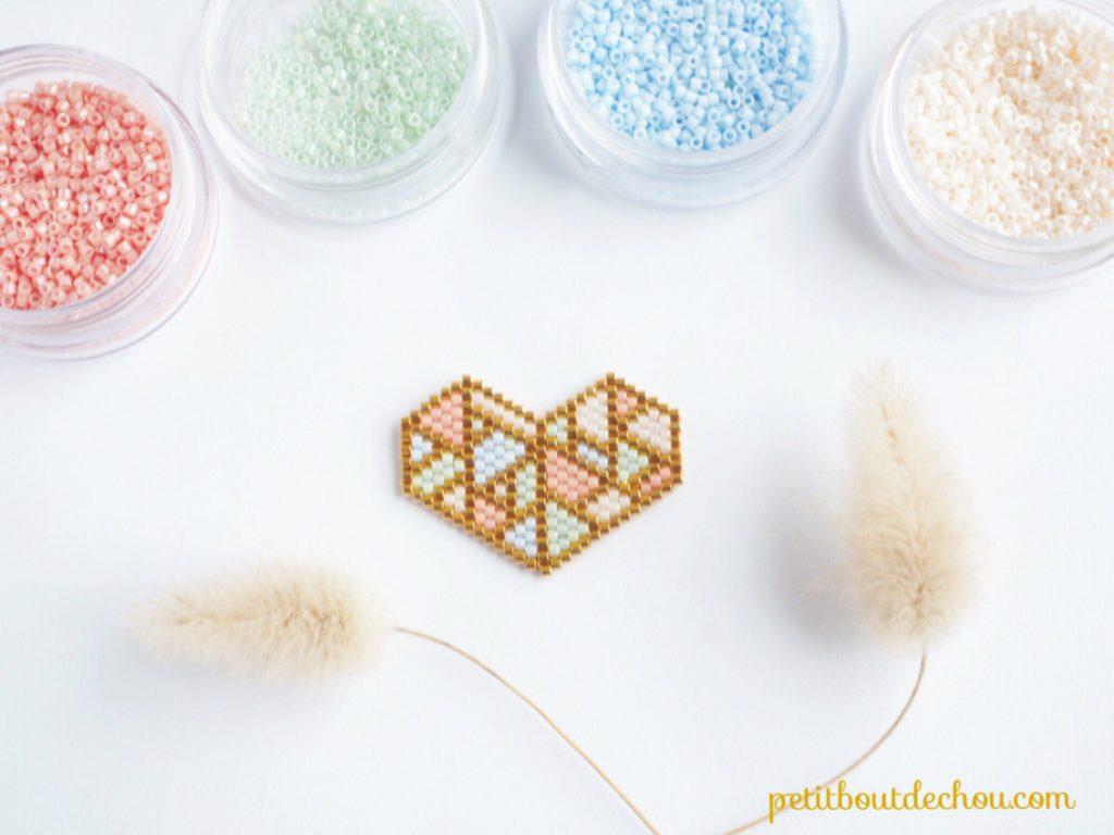 coeur pastel origami tissage miyuki 3