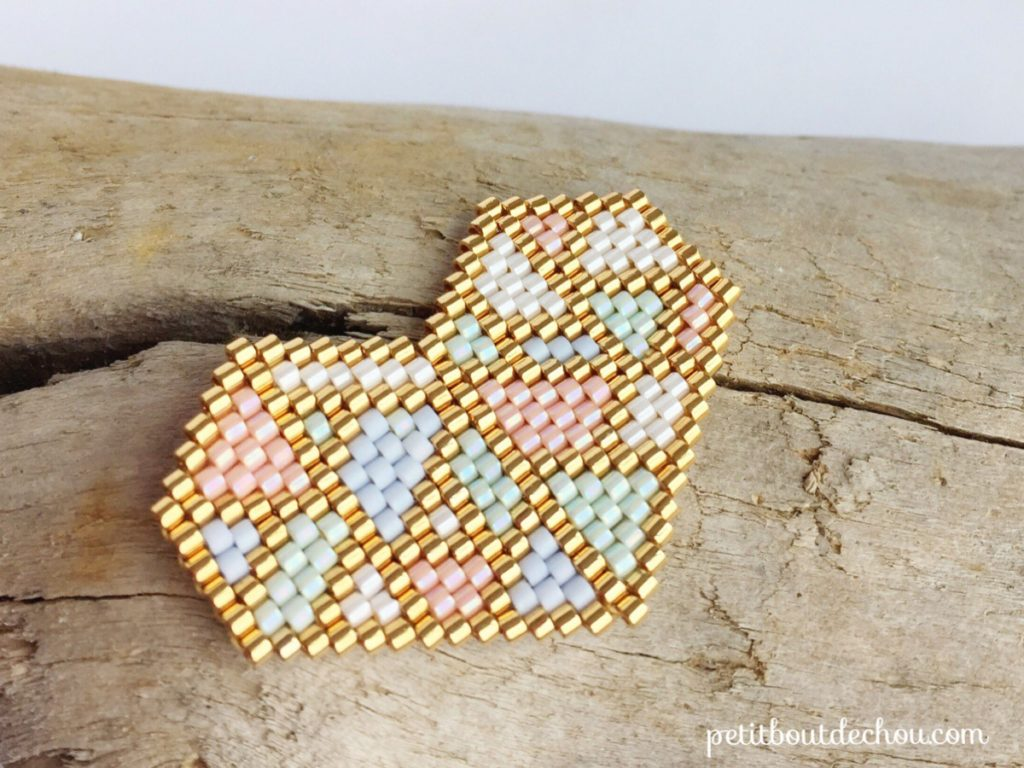 coeur pastel origami tissage miyuki 2