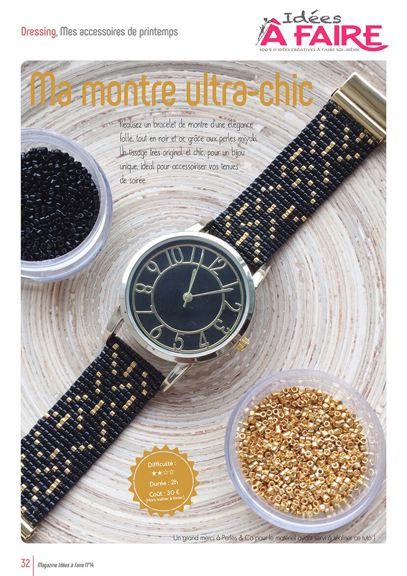 Montre bracelet tissé miyuki magazine