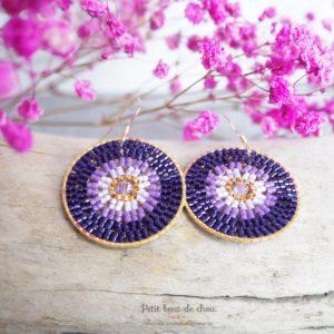 boucles Miyuki cercle violet