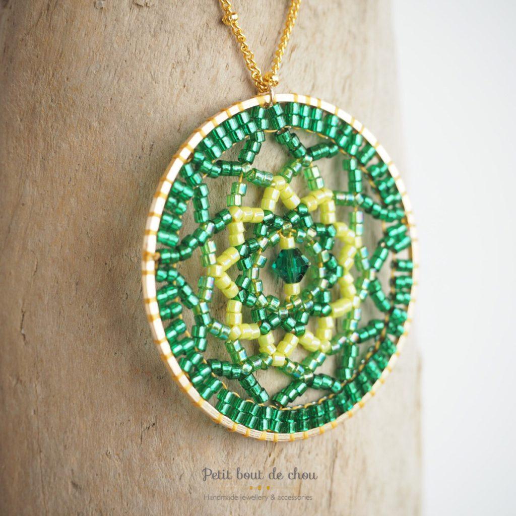 mandala perles miyuki vert